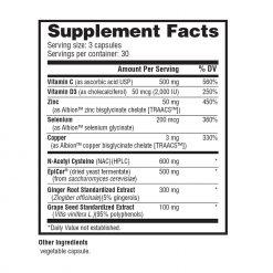 Nutrabio - Immune 90 Vegetable Capsules Supplement Facts