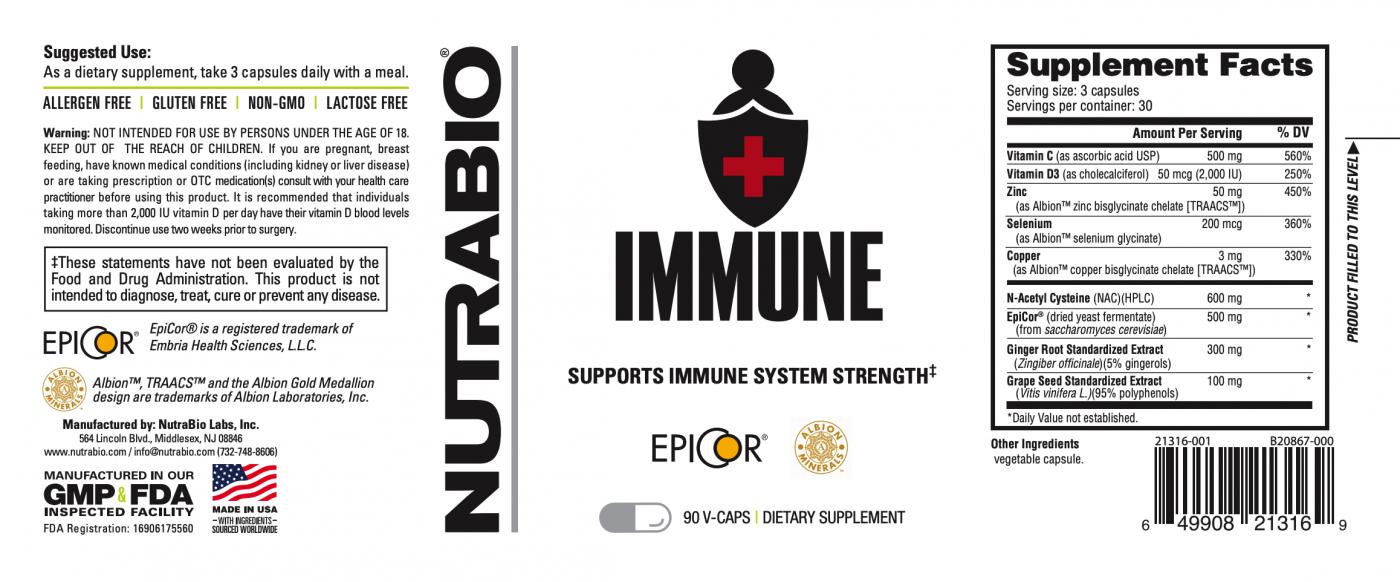 Nutrabio - Immune 90 Vegetable Capsules Label