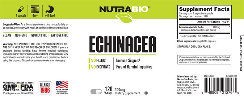 Nutrabio - Echinacea 400mg 120 Vegetable Capsules