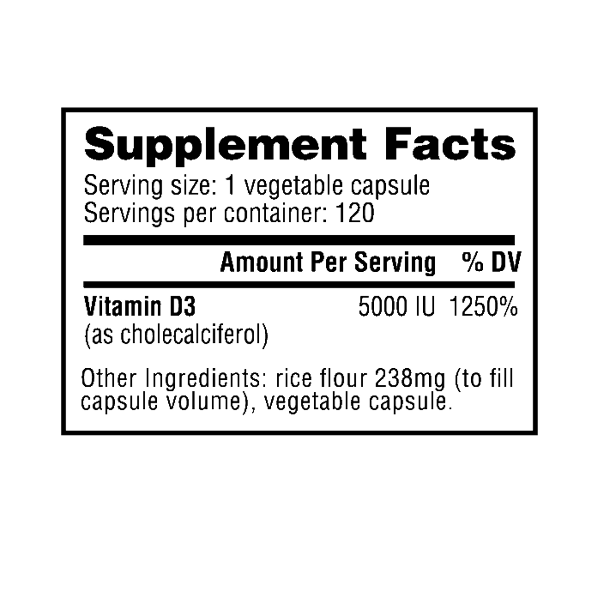 Nutrabio - Vitamin D 5000UI 120 Vegatable Capsules Supplement Facts