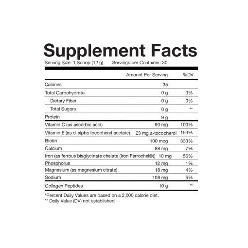 Obvi - Super Collagen Protein Powder Supplement Facts 02