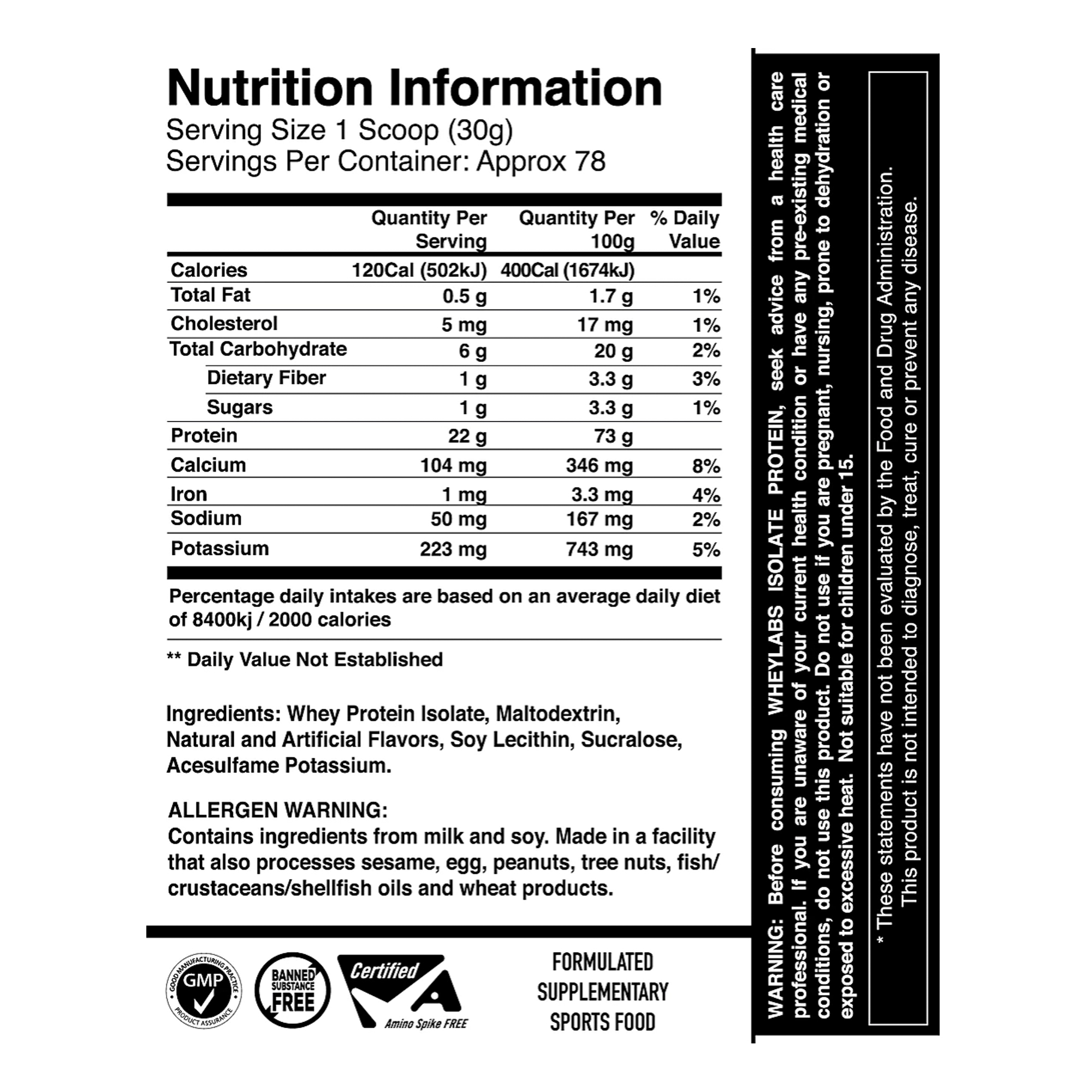 Wheylabs Isolate Nutrition Information - Nutrition Depot Philippines